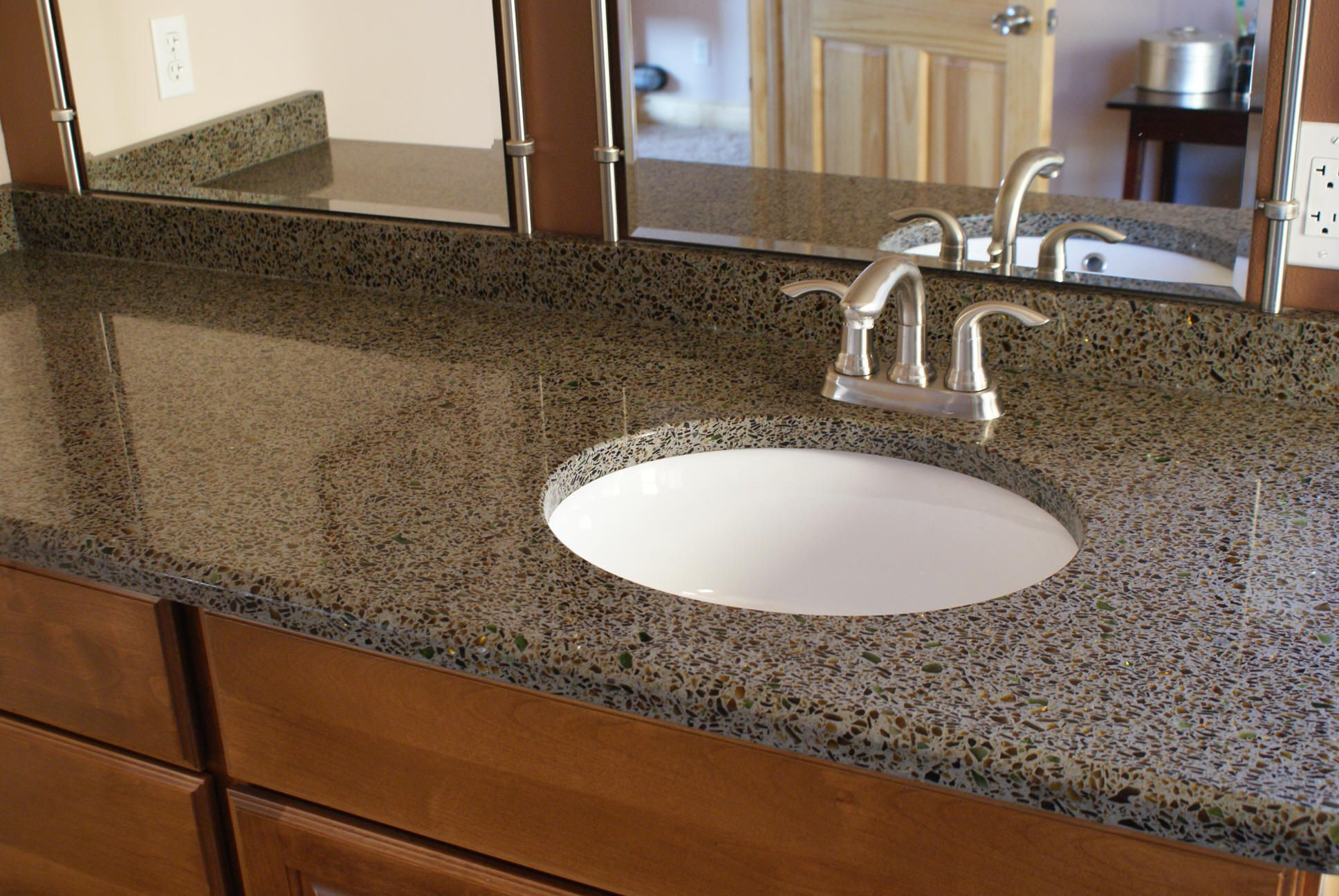 Recycled Glass Counter Tops Bathrooms But Not Kitchen I Think It Stains Easier Than Granite
