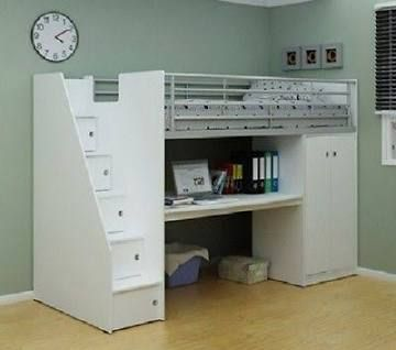 High Sleeper Bed With Storage In Steps Cabin Beds For Kids