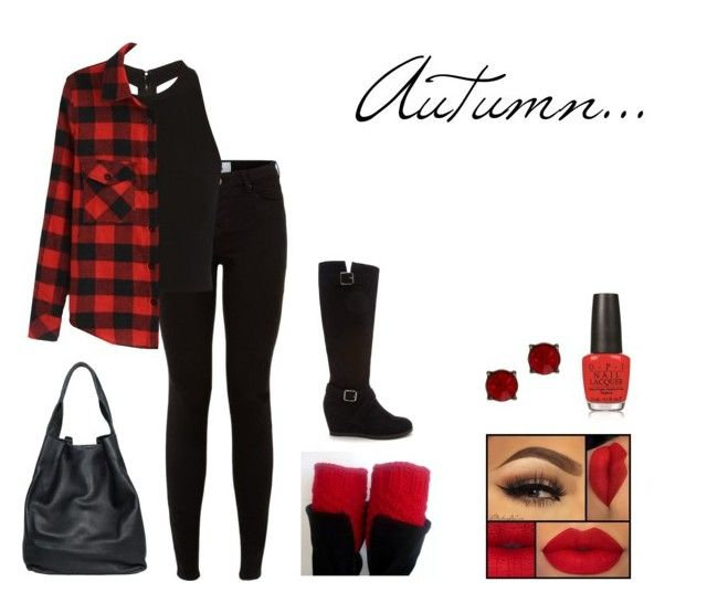 """""""Red Autumn Look"""" by marydudich on Polyvore featuring Alice + Olivia, OPI, Nordstrom Rack, christopher. kon and Forever 21"""