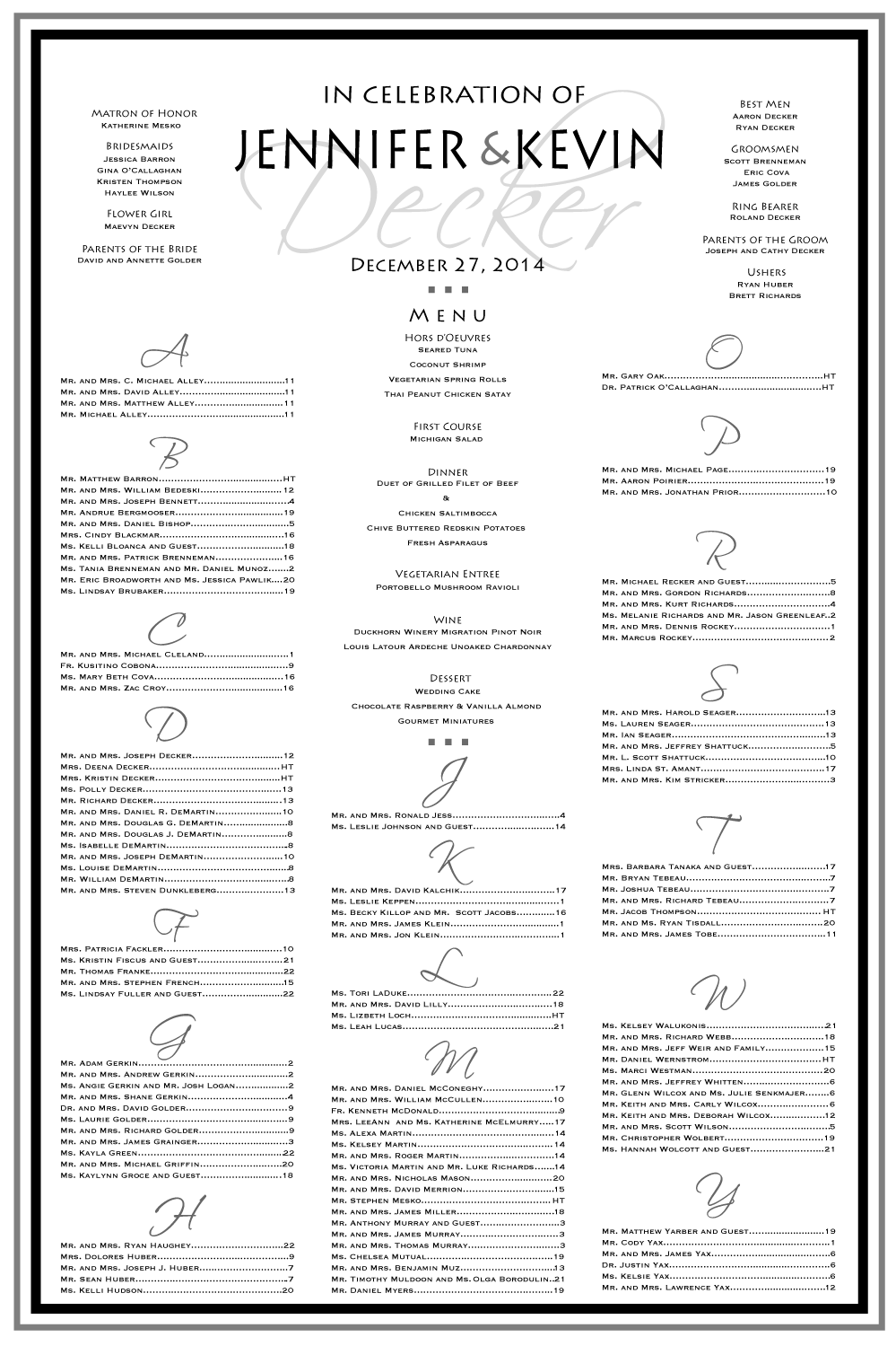This Seating Chart Has It All Menu And Wedding Party Everything Your Guests Need To Know