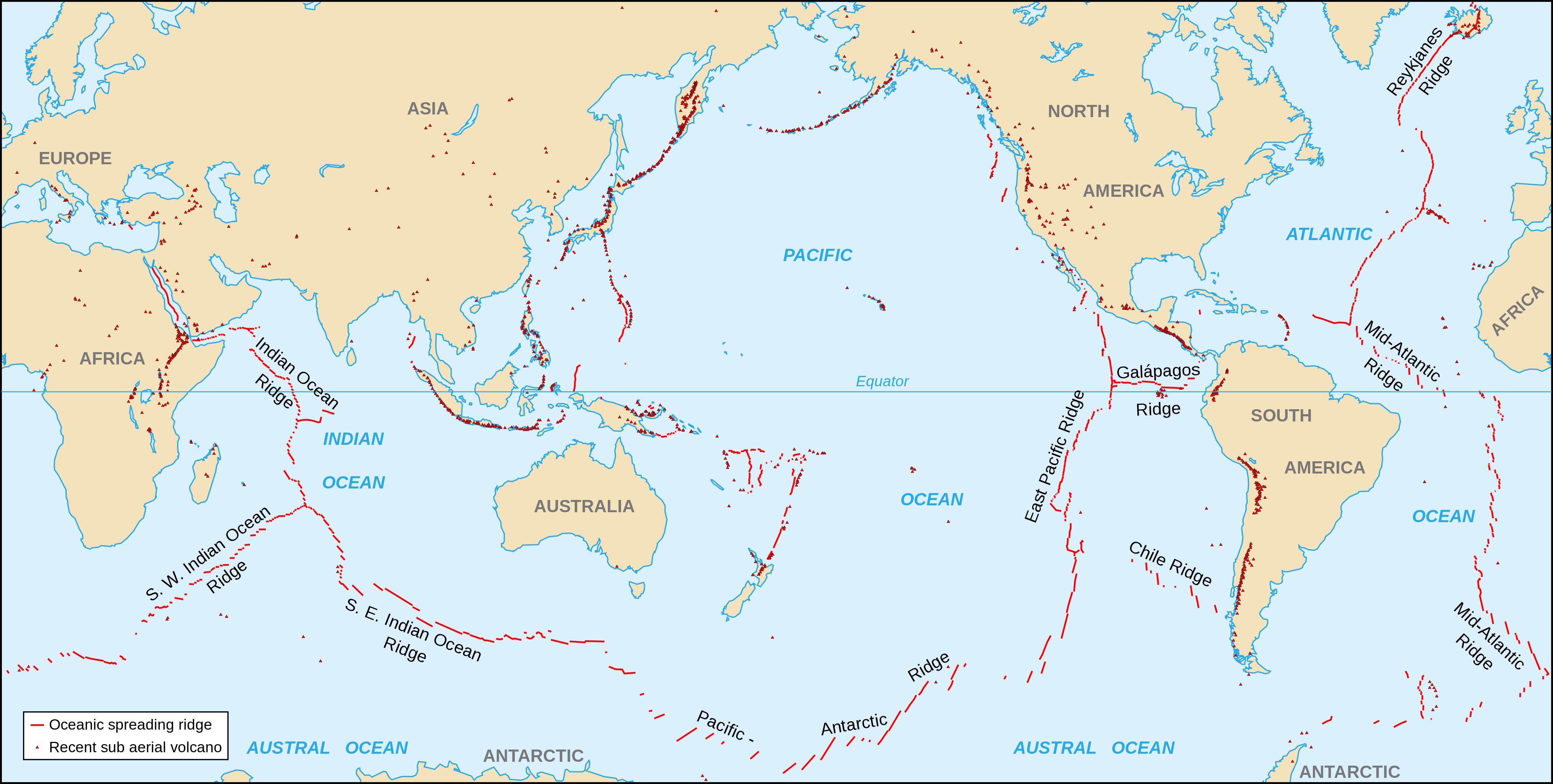 Spreading Ridges Volcanoes Map