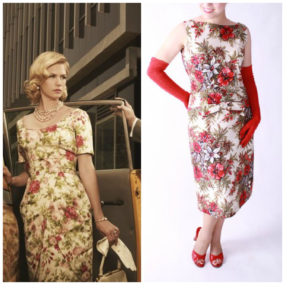 Betty Draper of Mad Men {1960s Floral Cocktail Dress with Draped ...