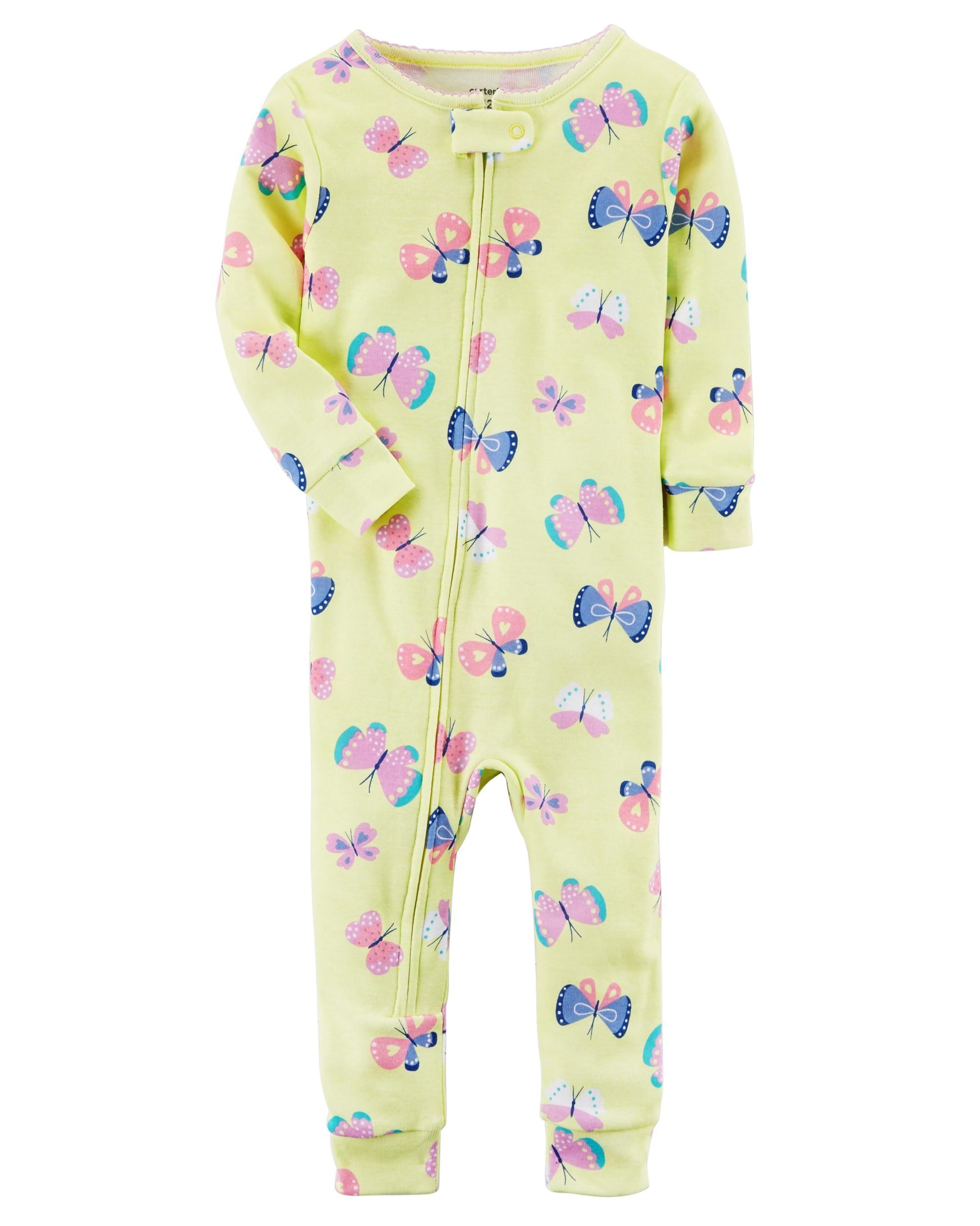 fbf3a3c10369 Toddler Girl 1-Piece Snug Fit Cotton Footless PJs