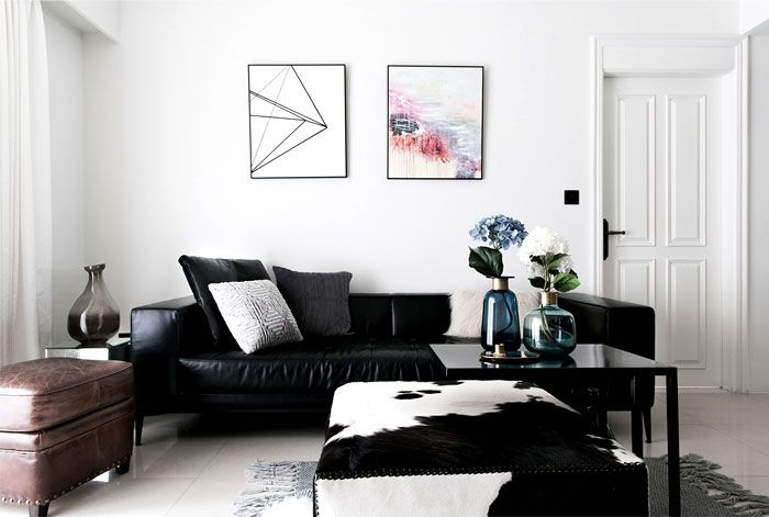 Scandinavian Style Apartment By Ris Interior Living Room Leather