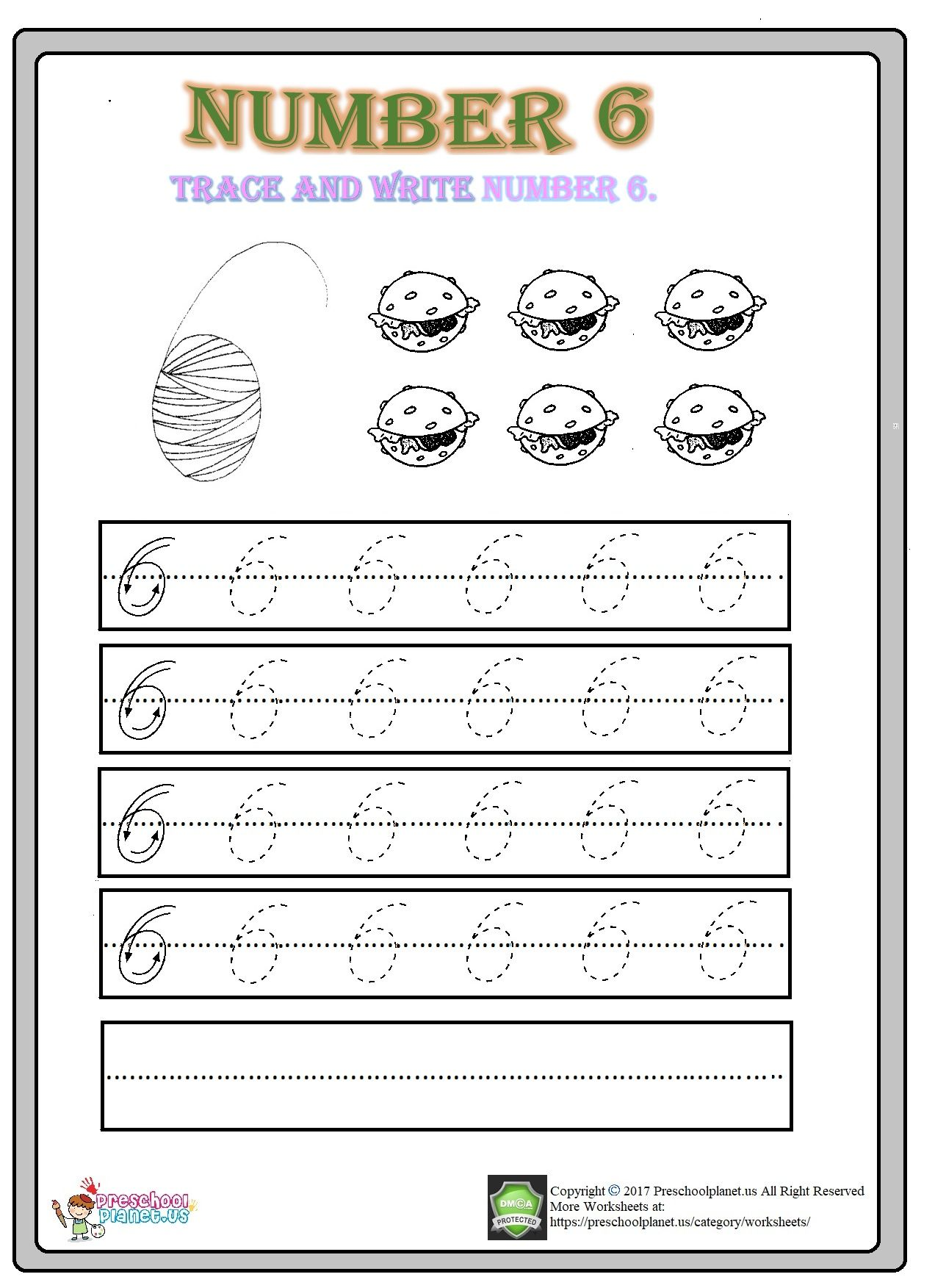 Number 6 worksheet for kindergarten | Worksheets, Kindergarten and ...
