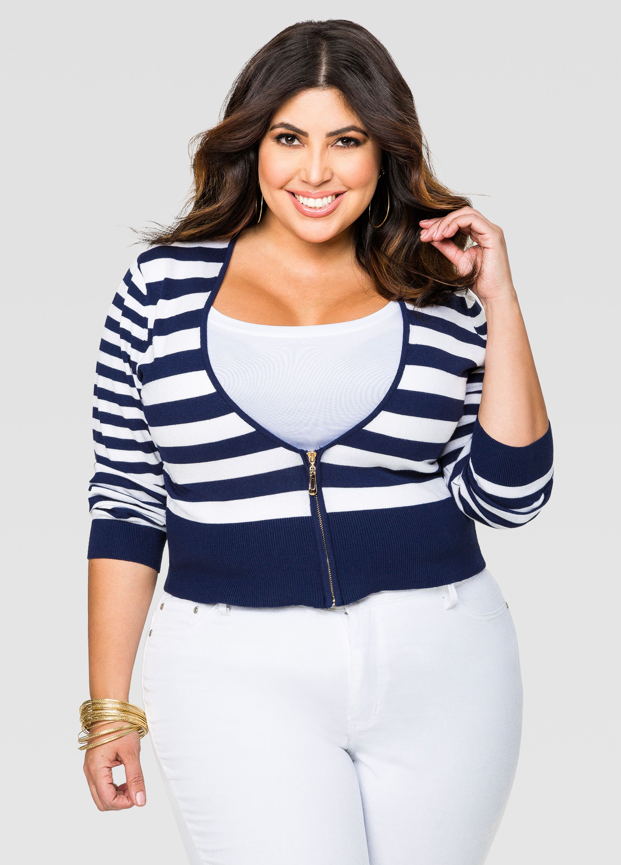 bb429b57ae Striped Cropped Zip Front Cardigan - Ashley Stewart. Striped Cropped Zip  Front Cardigan - Ashley Stewart Fashionable Plus Size Clothing ...