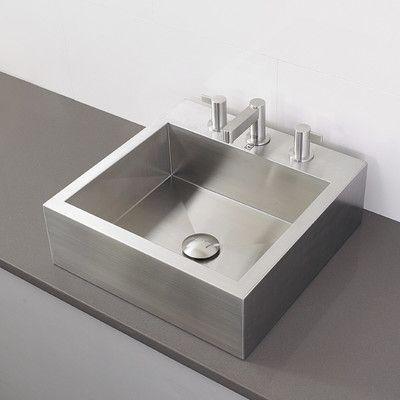 DECOLAV Crofton Metal Rectangular Vessel Bathroom Sink with Overflow
