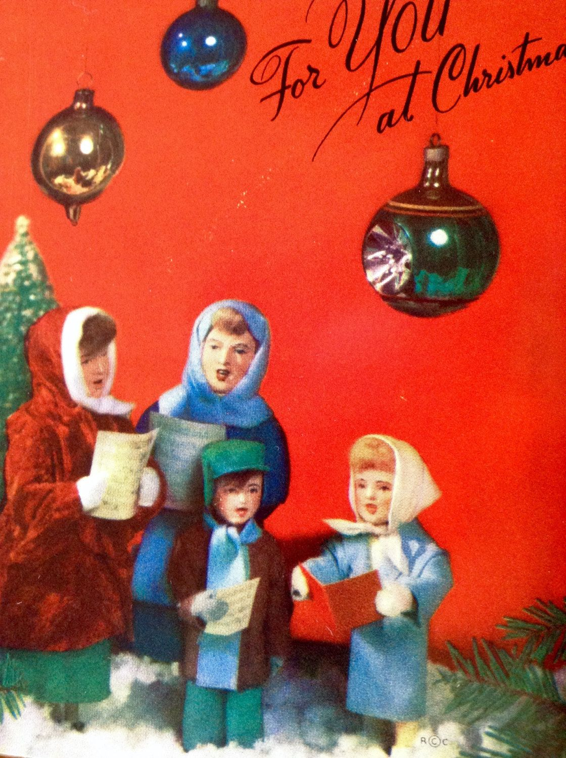 Vintage Christmas Card Mid Century Family Carolers Rust Craft 1955 W Original Envelope Stamped With John AdamsCarolerVintage