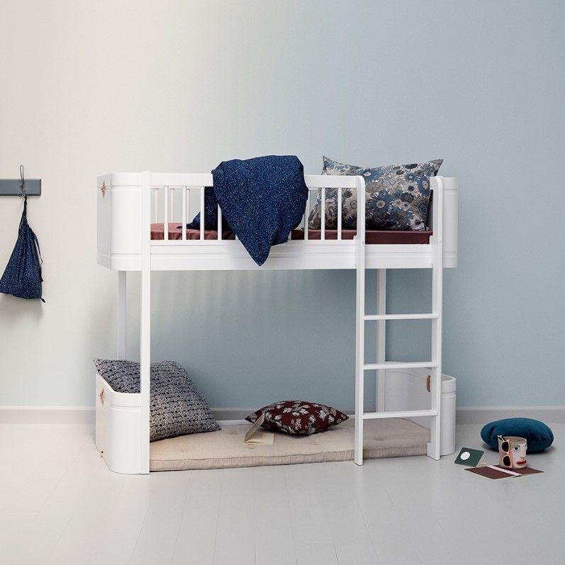 Oliver Furniture Wood Mini Low Loft Bed In All White With Curtain Low Loft Beds Junior Loft Beds Loft Bed