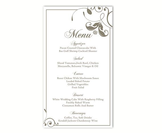 Menu templates word ukranochi wedding menu template diy menu card template editable text word file maxwellsz