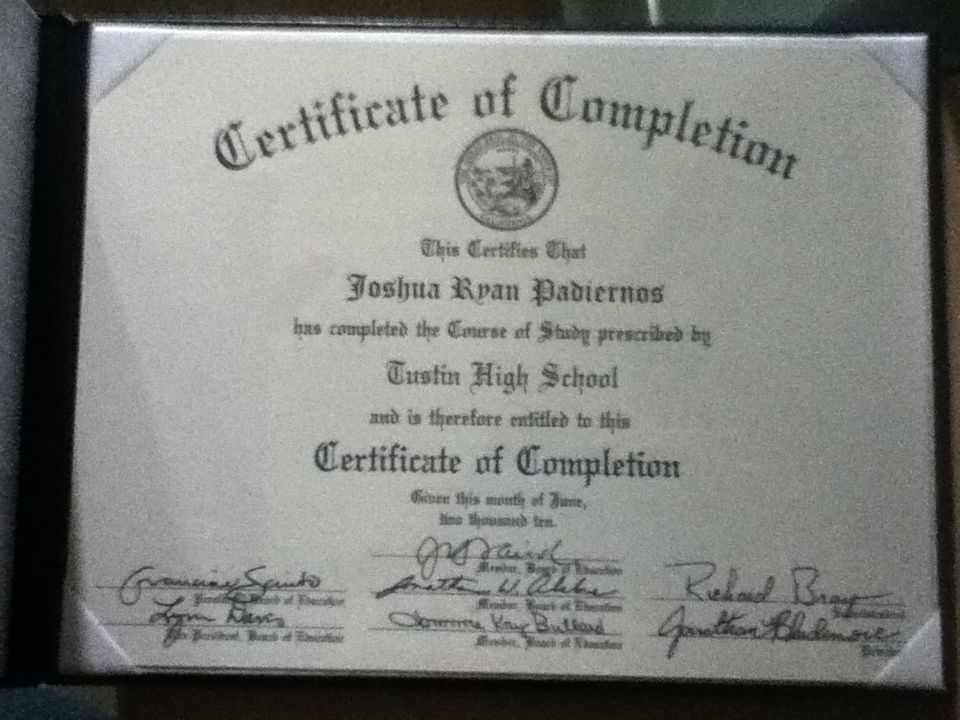 Went To Tustin High School Class Of 2010 With A Certificate Of