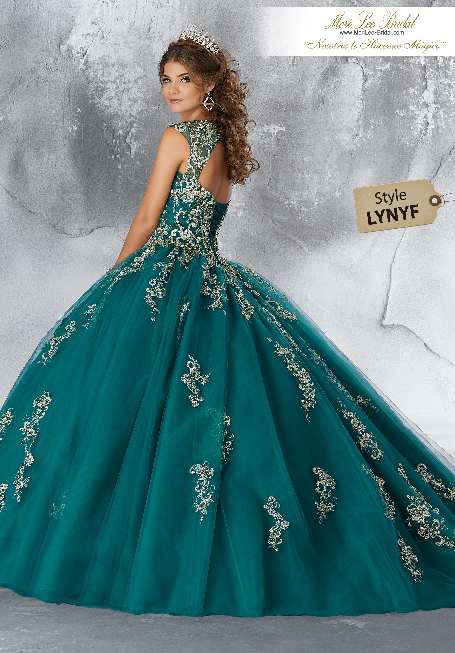 90db46b8b4a Estilo LYNYF Contrasting Beaded Embroidery on a Tulle Ballgown Tulle  Quinceañera Dress Featuring Gorgeous Contrasting Embroidery