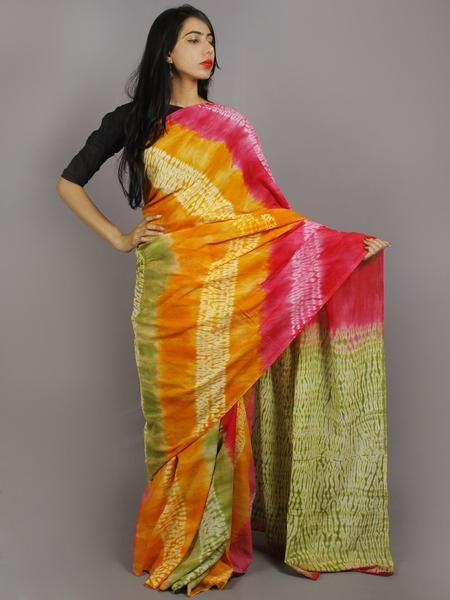 bf594d855d Pink Yellow Green Ivory Hand Shibori Dyed Cotton Mul Saree - S031701226
