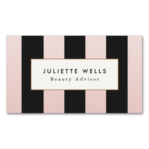 Elegant Pink And Black Striped Beauty Salon Business Card