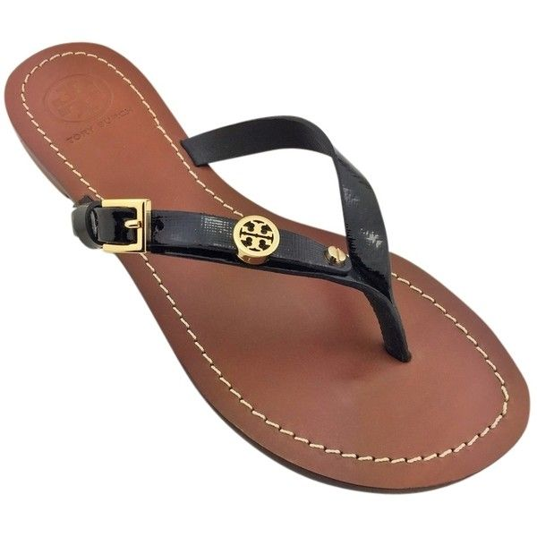 d5ae559c2 Pre-owned Tory Burch Brand New In Box Monogram Flat Thong Flip Flop...  ( 145) ❤ liked on Polyvore featuring shoes
