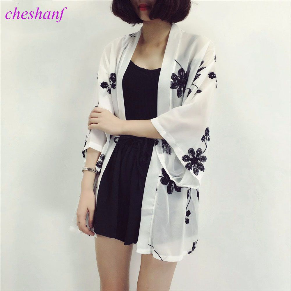 Cheshanf Embroidery Floral Kimono Cardigan Women Summer Beach ...