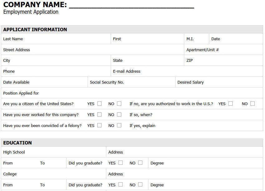 employment application form template employment application form