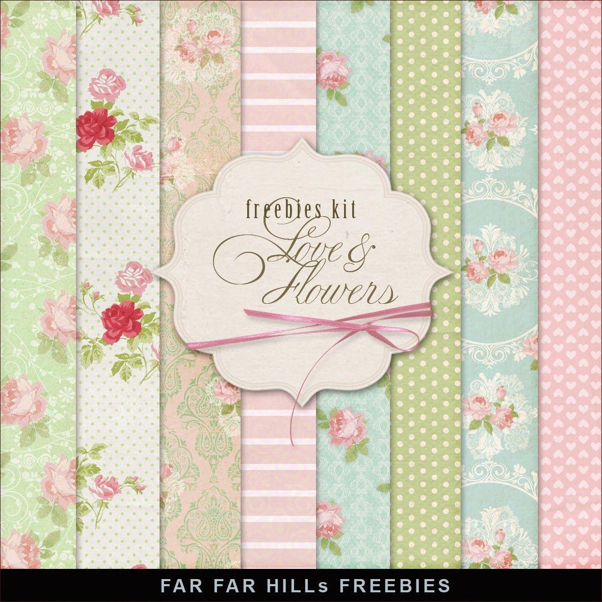 Far Far Hill: New Freebies Kit of Backgrounds - Love & Flowers