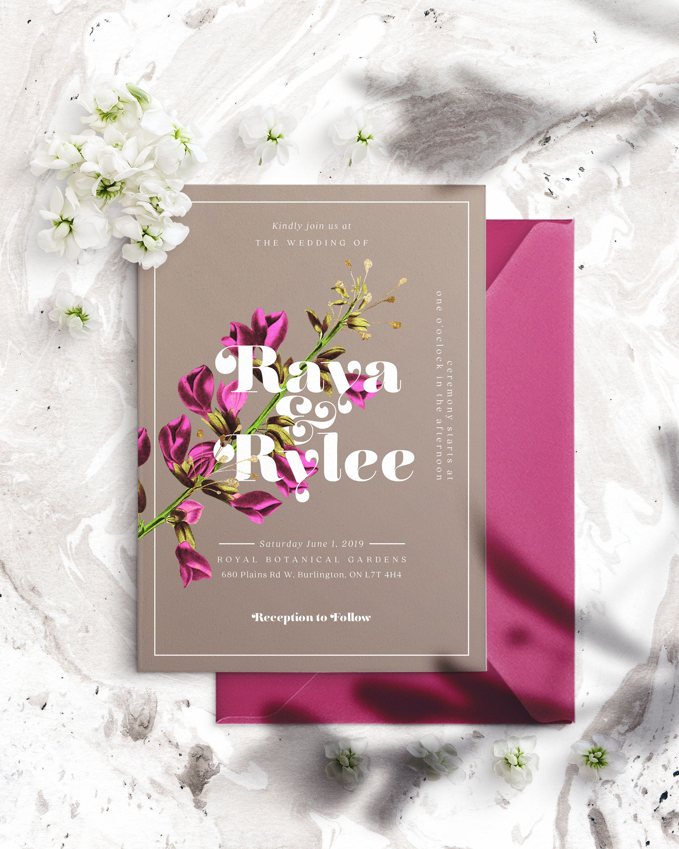 Printable Invitation Fuchsia Floral Template, Instant