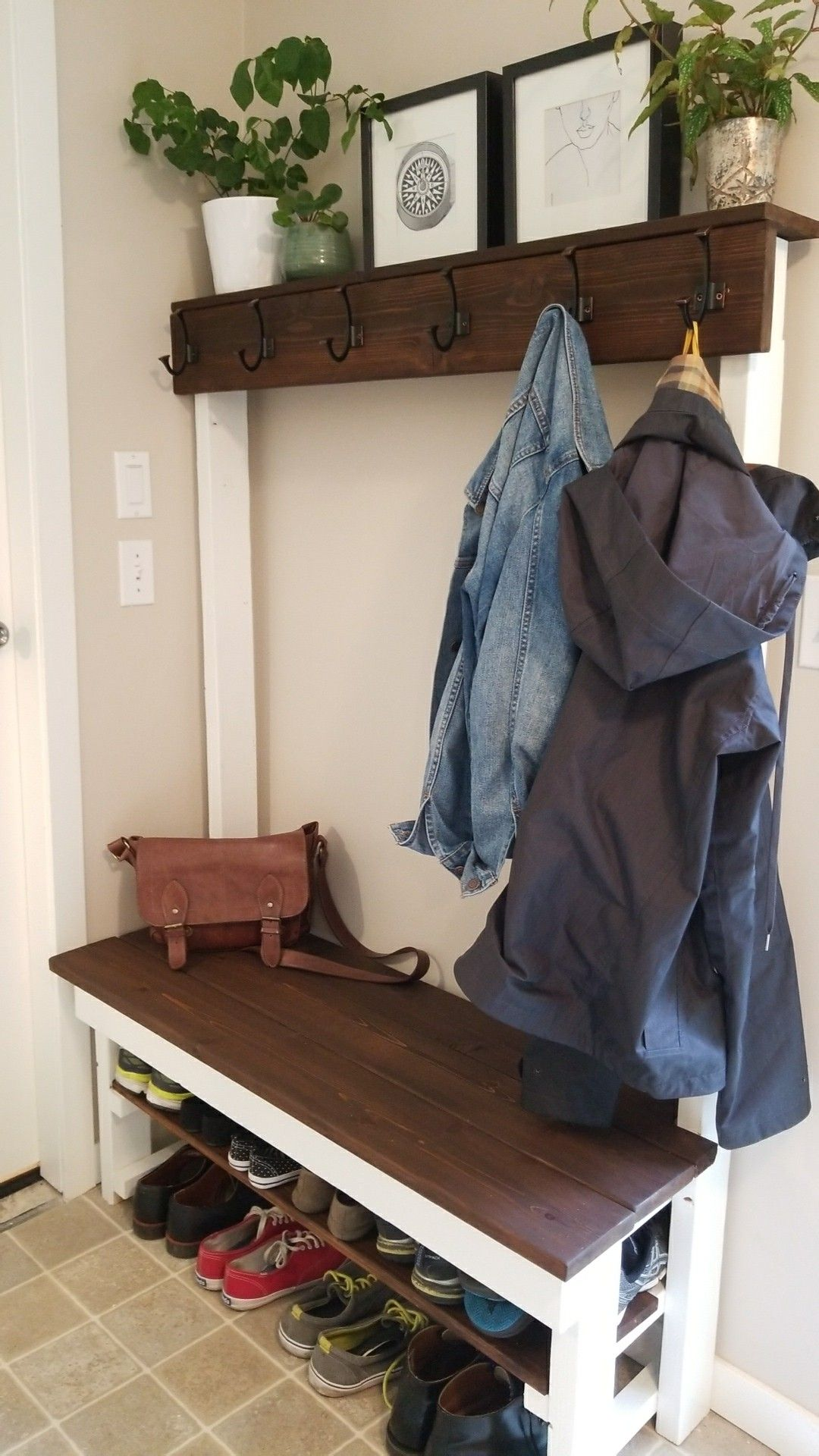 Entry Way Shoeshelf Coat Rack Bench Diy With Some 2x4 And Cedar