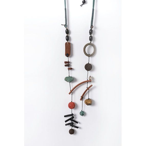 Long Necklace Green and Natural Leather  Cord Gemstones by natartg, €55.00