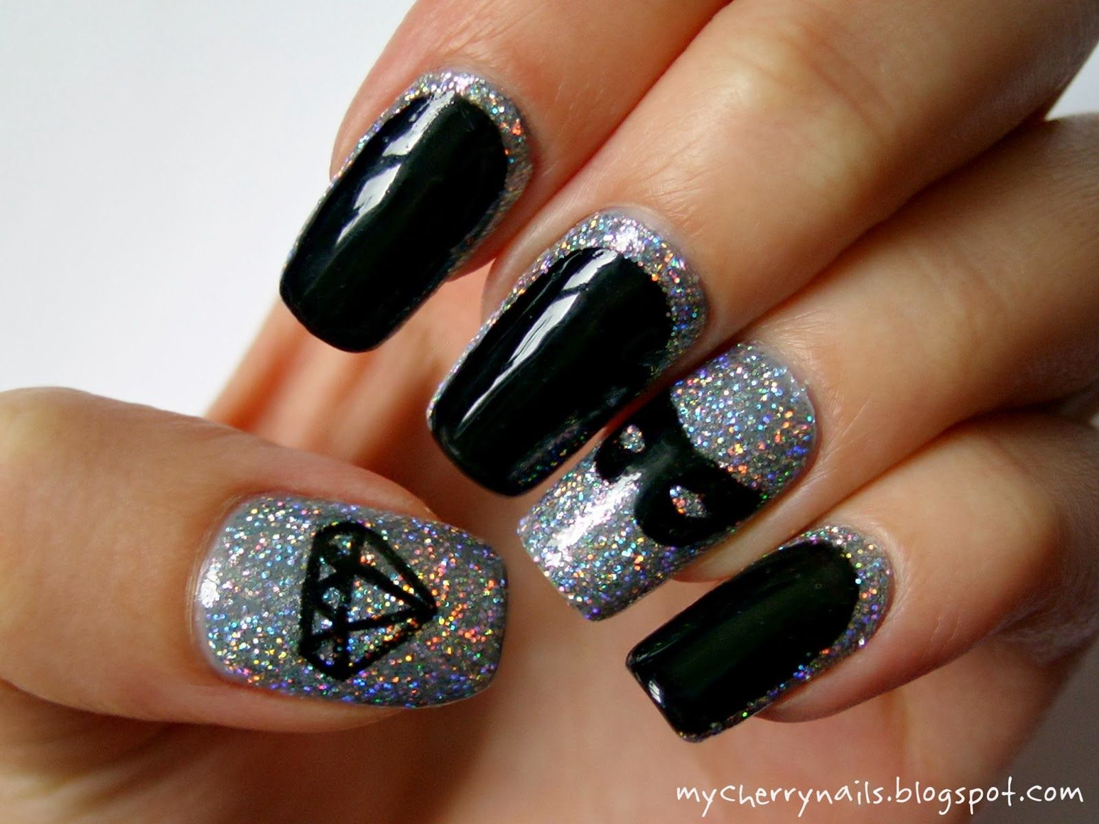 nails, nail art, carnival, mask diamond, glitter, holographic, black ...