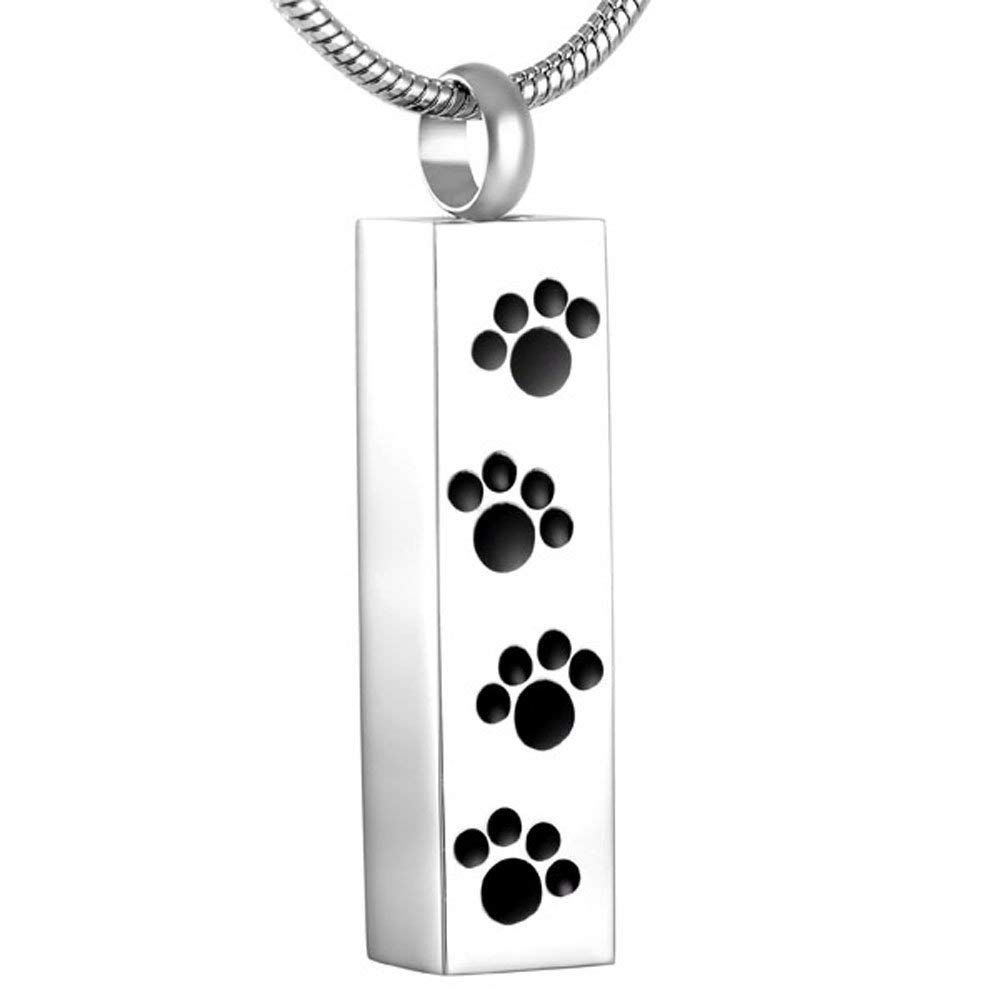 Pet Paw Engraved Dog Cat Memorial Jewelry Stainless Steel