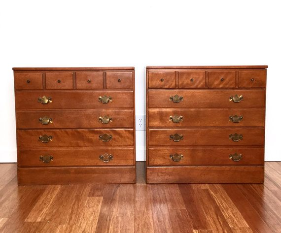 Pair Of Bachelor Chests Ethan Allen Dressers Baumritter Collection With Br Hardware Maple 3 Drawer Nightstands