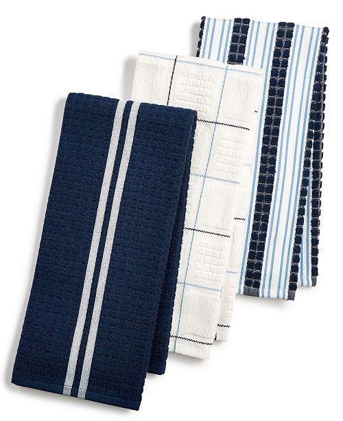 Martha Stewart Collection 3-Pc. Terry Cloth Kitchen Towels