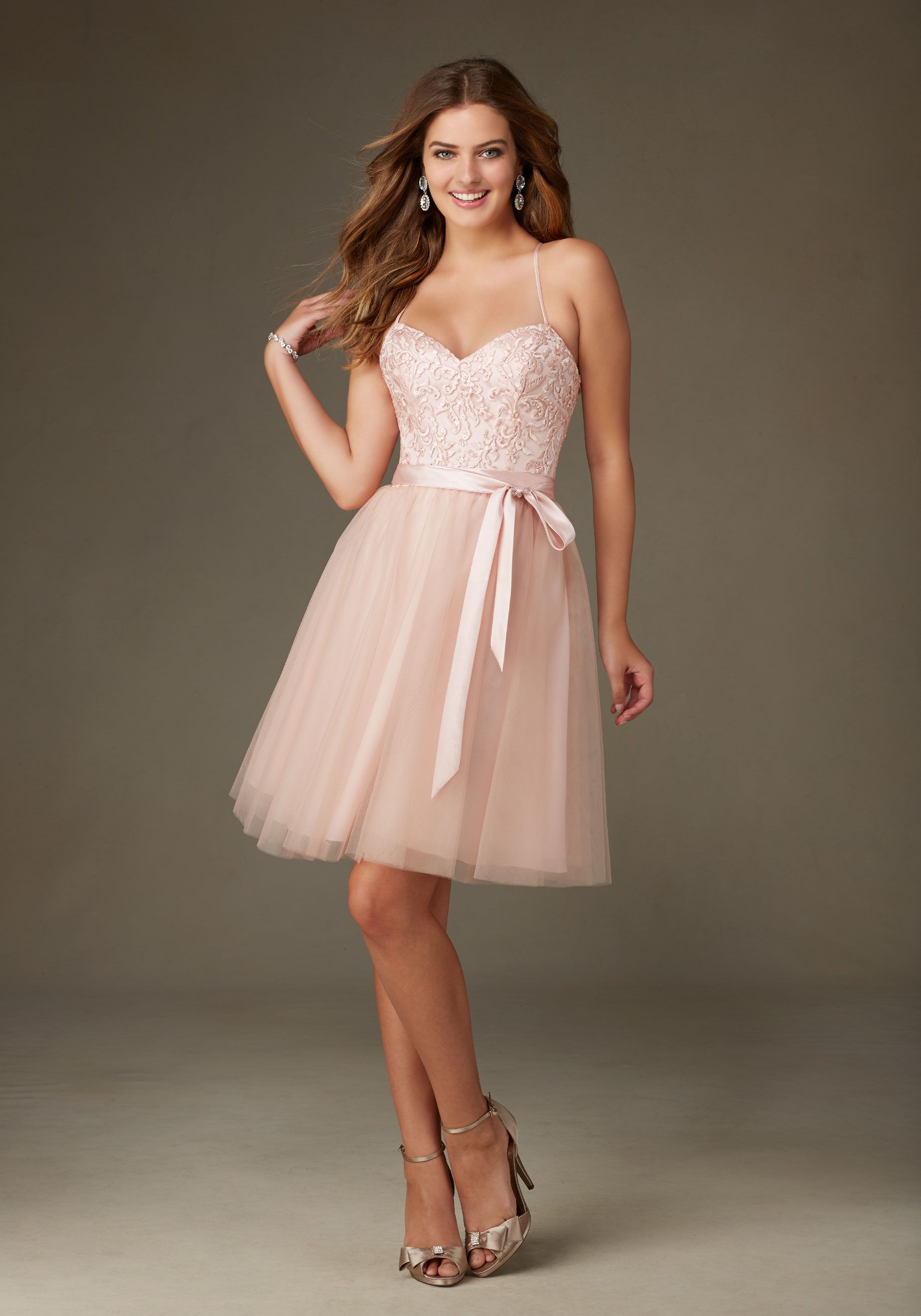 Ballerina Style Bridesmaid Dress in Tulle with Embroidery and ...