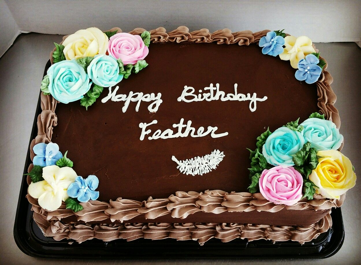 Chocolate cake with buttercream flowers buttercream