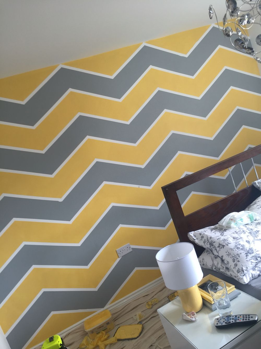Yellow grey chevron wall art zig zag | Loft ideas | Pinterest | Grey ...