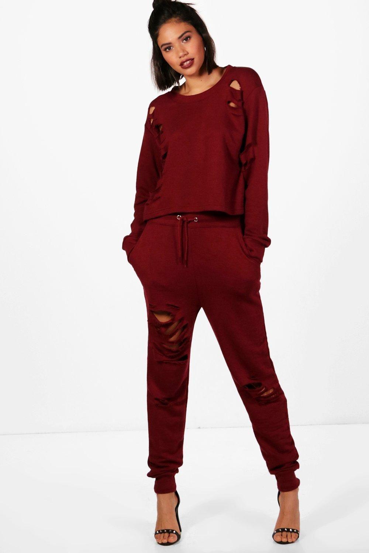 Lace bodysuit boohoo  Ester Distressed Jogger u Sweat Set  Joggers Boohoo and Loungewear