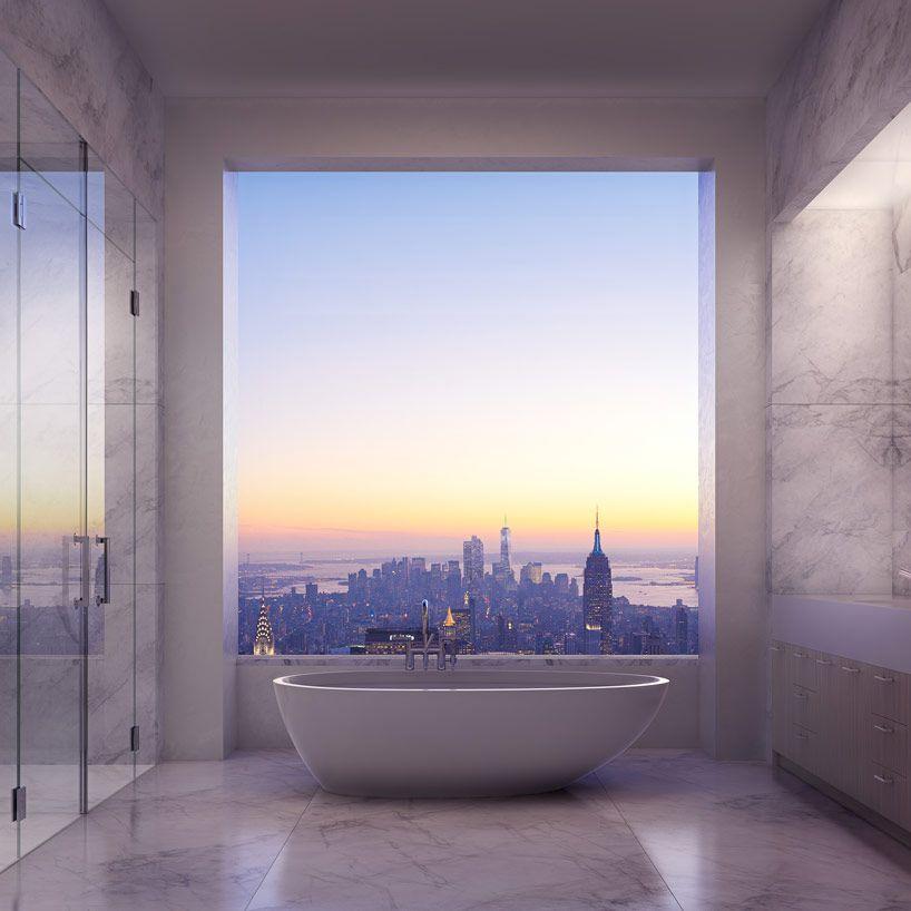 Rafael Vinoly S 432 Park Avenue To Become The Tallest Building In The Hemisphere Park Avenue Apartment 432 Park Avenue Beautiful Bathrooms