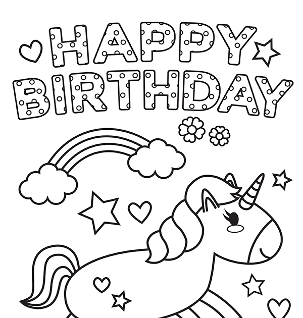 Printable Unicorn Happy Birthday Coloring Page Printable Unicorn Coloring Pages In 2020 Birthday Coloring Pages Happy Birthday Coloring Pages Unicorn Coloring Pages