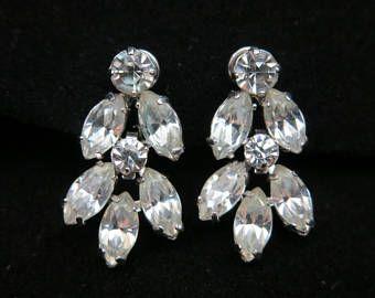 Clear Rhinestone Earrings Screwback Silver Krementz Costume