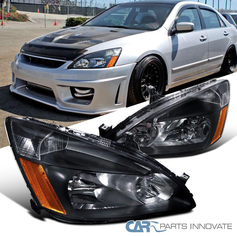 For 03 07 Honda Accord 2 4dr Black Replacement Headlights Amber Signal Lamps Set Honda Accord Honda Civic Car Honda