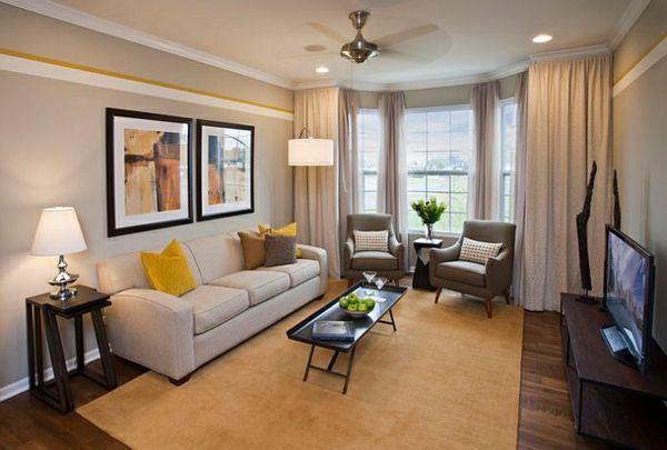 Wohnzimmer Klein wohnzimmer farbgestaltung grau und gelb wohnzimmer couchtisch