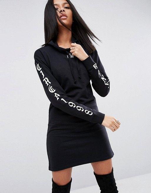 ASOS | ASOS - Vestito felpato con stampa sul braccio