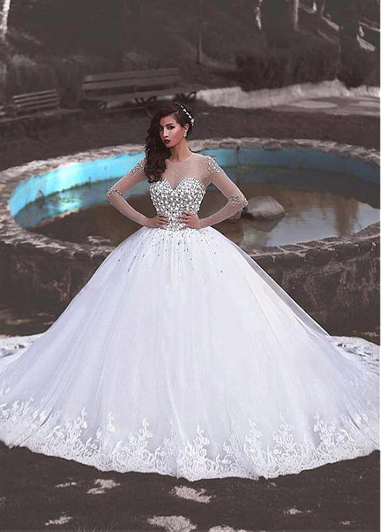 Magbridal Junoesque Tulle Jewel Neckline Ball Gown Wedding Dress With Lace Appliques Beadings Wedding Dress Train Ball Gowns Wedding Dresses