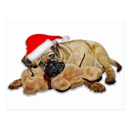 Pug Dog Christmas with Santa hat cute animals Postcard - holiday card diy personalize design template cyo cards idea