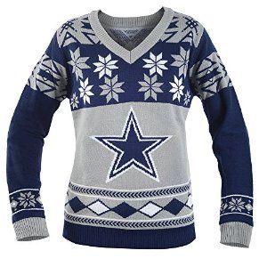 Amazon.com   KLEW NFL Dallas Cowboys Women s V-Neck Sweater 1267da87d