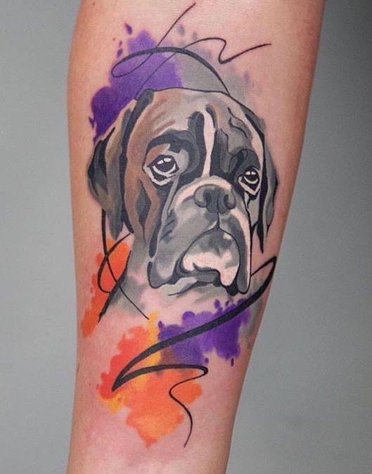 Olya Levchenko Boxer Tattoo Dibujos Pinterest Tatuajes Perros