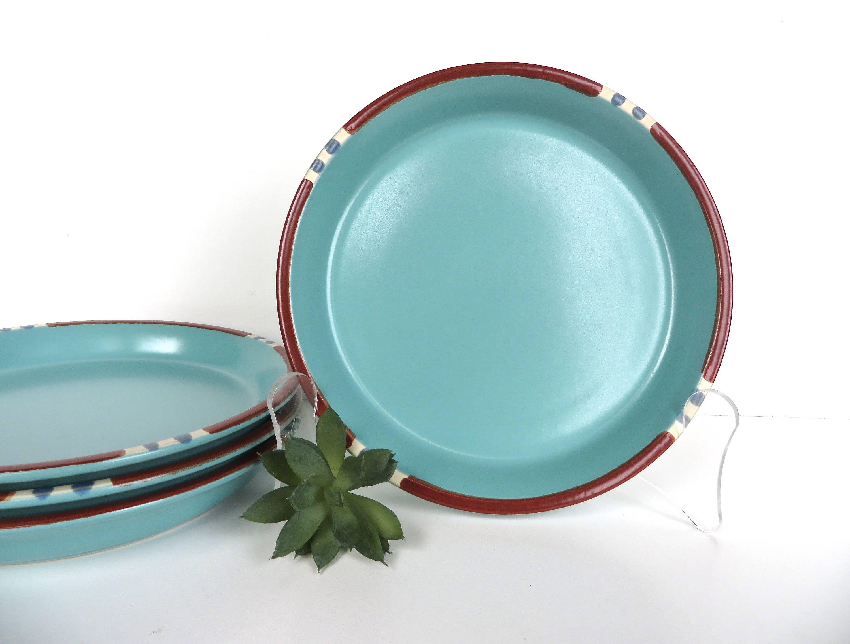 Set Of 4 Dansk Mesa Turquoise Salad Plates Dansk Modern Southwestern Stoneware Side Plates  sc 1 st  Pinterest & Set Of 4 Dansk Mesa Turquoise Salad Plates Dansk Modern ...