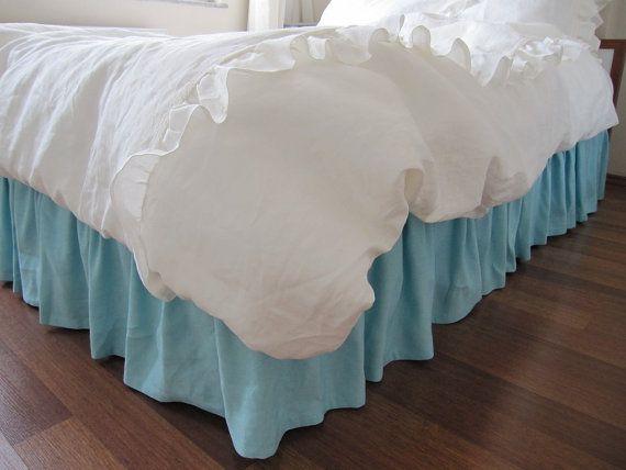 King Size Dust Ruffle Bed Skirt Turquoise Sky By Nurdanceyiz