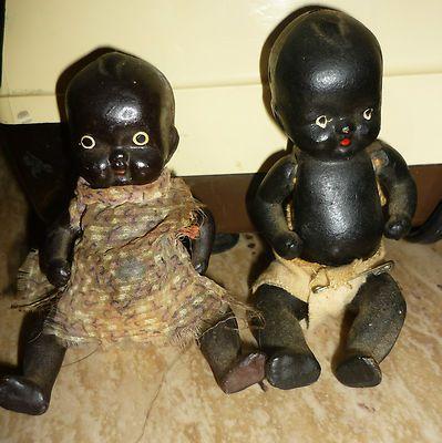 Antique Vintage Japan Black Baby Dolls Jointed Diapers Bisque Old Ebay Black Baby Dolls Baby Dolls Old Dolls