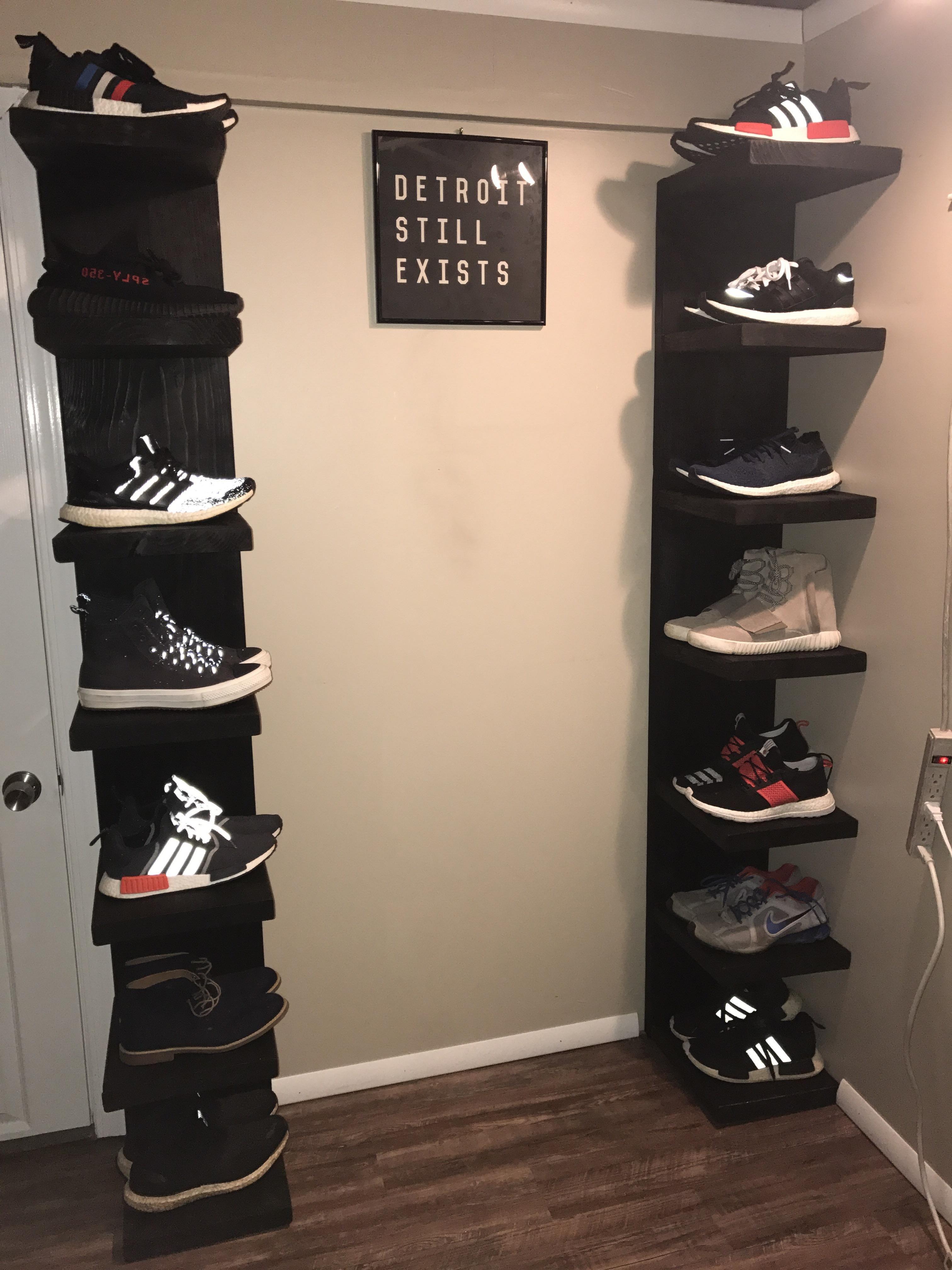 Made some shoe shelves based on the IKEA lack shelf