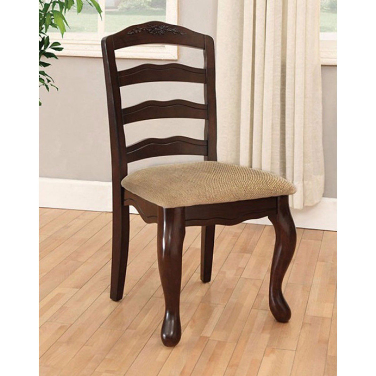 Benzara Townsville Ladder Back Dining Side Chair Set Of 2 Side Chairs Dining Walnut Dining Chair Walnut Dining Chairs