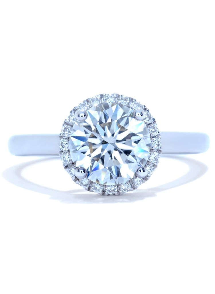 Round Halo Diamond and 18k white gold band Engagement Ring by Ascot Diamonds #ascotdiamonds