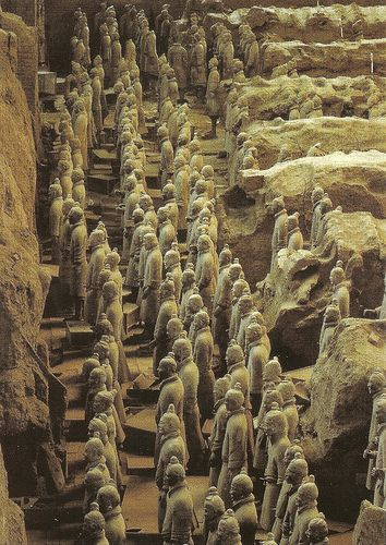 Terracotta Warrior's - postcards - View of an excavation pit in #Xian, #China